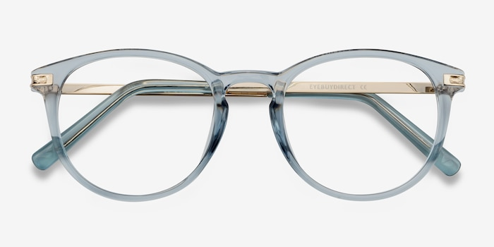 Daphne Clear Blue Plastic Eyeglass Frames from EyeBuyDirect, Closed View