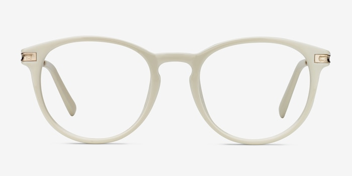 Daphne White Plastic Eyeglass Frames from EyeBuyDirect, Front View
