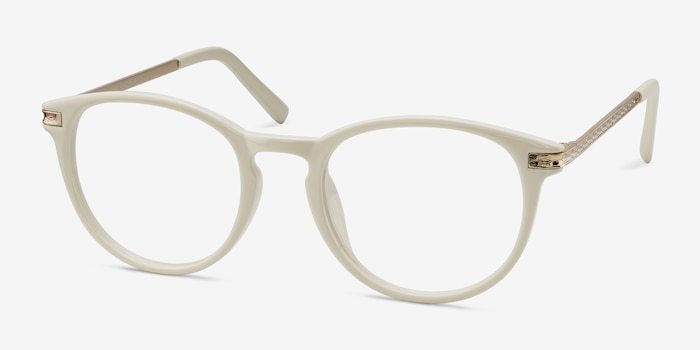 Daphne White Plastic Eyeglass Frames from EyeBuyDirect, Angle View