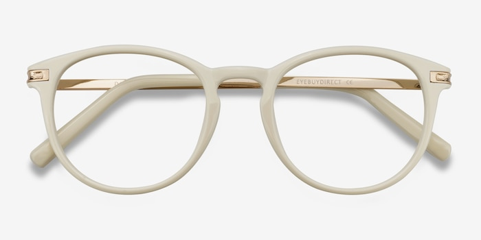 Daphne White Plastic Eyeglass Frames from EyeBuyDirect, Closed View