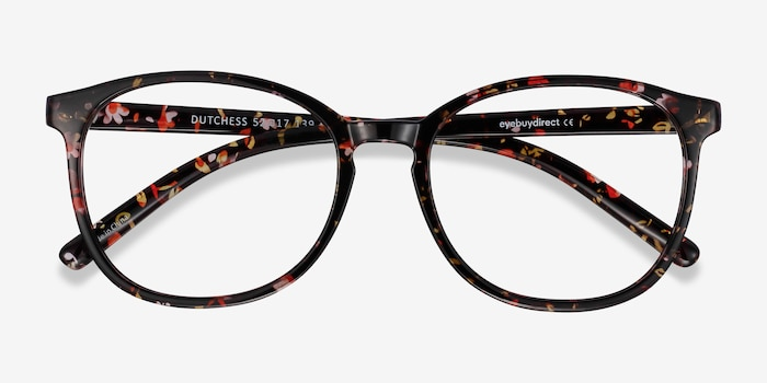 Dutchess Floral Plastic Eyeglass Frames from EyeBuyDirect, Closed View