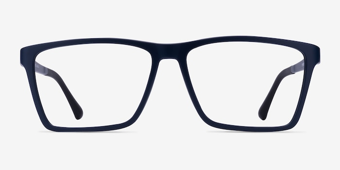 Equation Matte Navy Plastic Eyeglass Frames from EyeBuyDirect, Front View