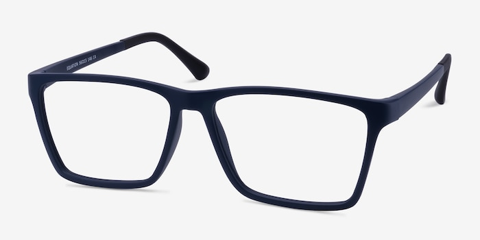 Equation Matte Navy Plastic Eyeglass Frames from EyeBuyDirect, Angle View