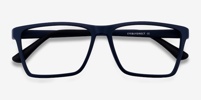 Equation Matte Navy Plastic Eyeglass Frames from EyeBuyDirect, Closed View