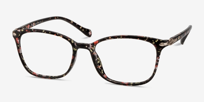Nola Pink Floral Plastic Eyeglass Frames from EyeBuyDirect, Angle View
