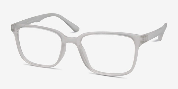 November Matte Clear Plastic Eyeglass Frames from EyeBuyDirect, Angle View