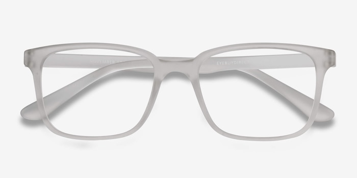 November Matte Clear Plastic Eyeglass Frames from EyeBuyDirect, Closed View