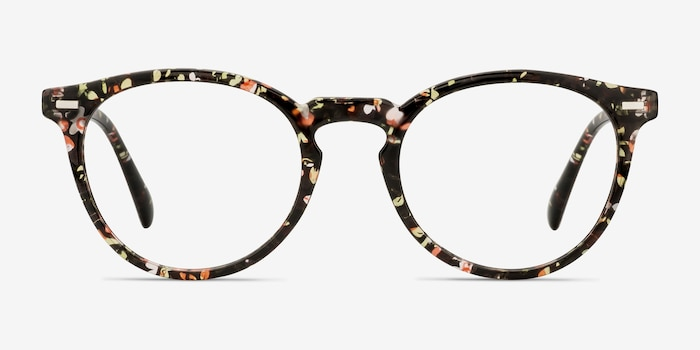 Peninsula Red Floral Plastic Eyeglass Frames from EyeBuyDirect, Front View