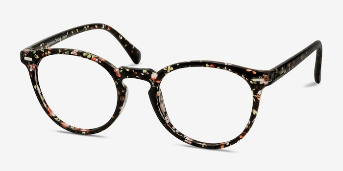 Peninsula Red Floral Plastic Eyeglass Frames from EyeBuyDirect, Angle View