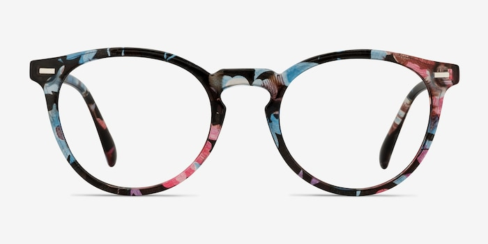 Peninsula Blue Floral Plastic Eyeglass Frames from EyeBuyDirect, Front View