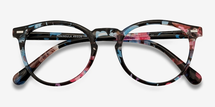 Peninsula Blue Floral Plastic Eyeglass Frames from EyeBuyDirect, Closed View