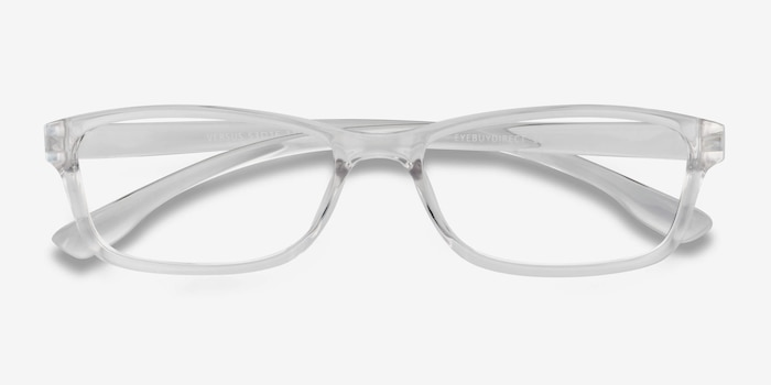 Versus Clear Plastic Eyeglass Frames from EyeBuyDirect, Closed View