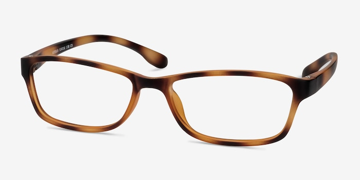 Versus Matte Tortoise Plastic Eyeglass Frames from EyeBuyDirect, Angle View