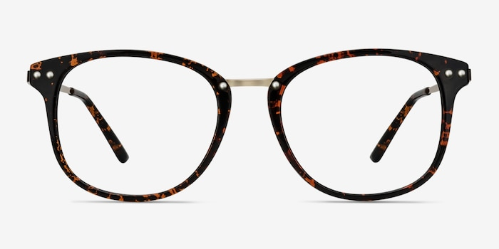 Cosmo Tortoise Metal Eyeglass Frames from EyeBuyDirect, Front View