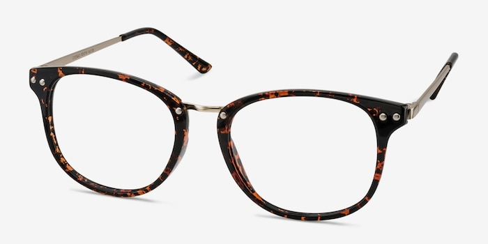 Cosmo Tortoise Metal Eyeglass Frames from EyeBuyDirect, Angle View