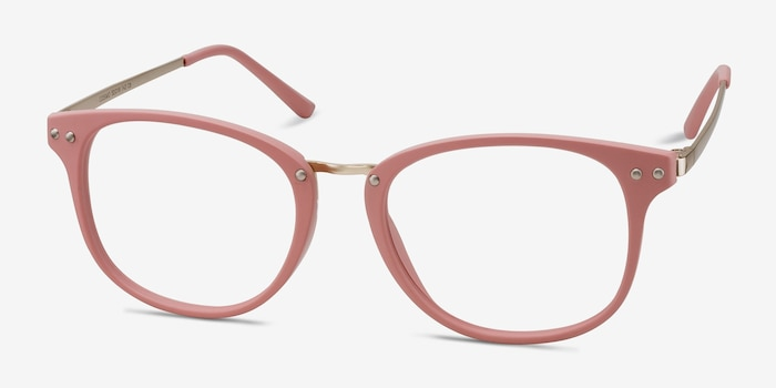 Cosmo Pink Metal Eyeglass Frames from EyeBuyDirect, Angle View