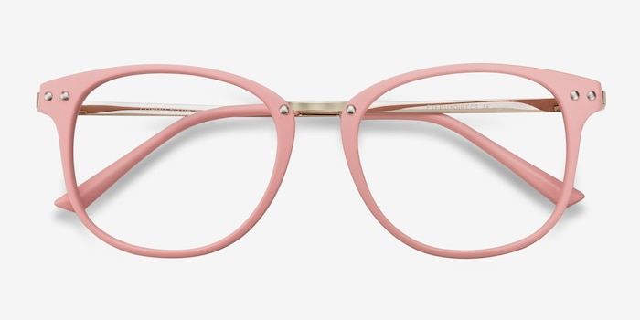Cosmo Pink Metal Eyeglass Frames from EyeBuyDirect, Closed View