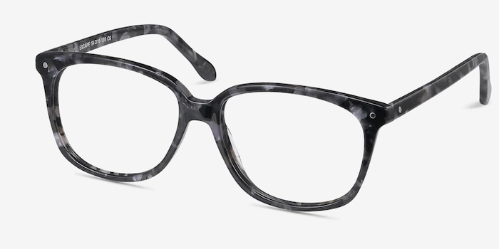Escape Marbled Gray Acetate Eyeglass Frames from EyeBuyDirect, Angle View