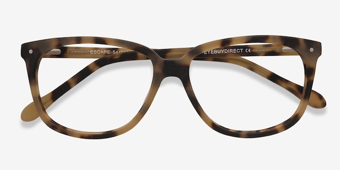 Escape Matte Tortoise Acetate Eyeglass Frames from EyeBuyDirect, Closed View
