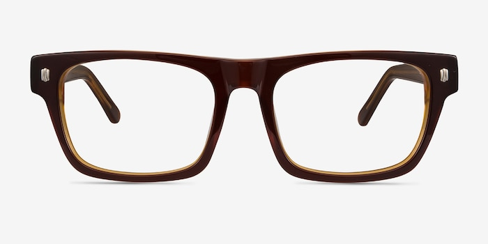 Eastwood Brown Acetate Eyeglass Frames from EyeBuyDirect, Front View