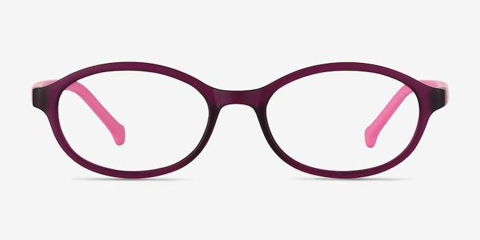 Skipper Purple Plastic Eyeglass Frames from EyeBuyDirect, Front View