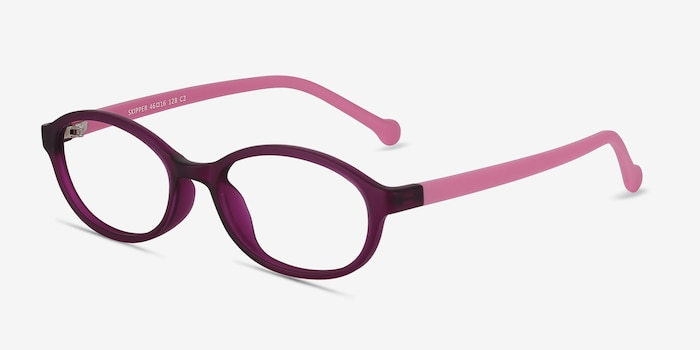 Skipper Purple Plastic Eyeglass Frames from EyeBuyDirect, Angle View