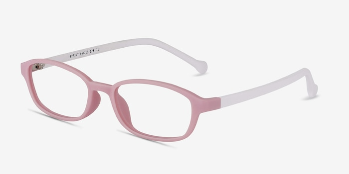 Sprint Pink Plastic Eyeglass Frames from EyeBuyDirect, Angle View