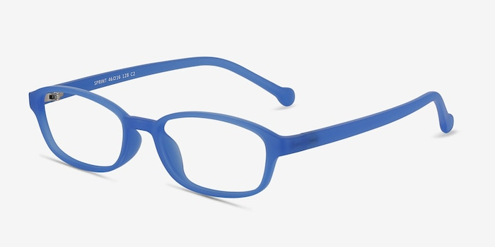 Sprint Blue Plastic Eyeglass Frames from EyeBuyDirect, Angle View