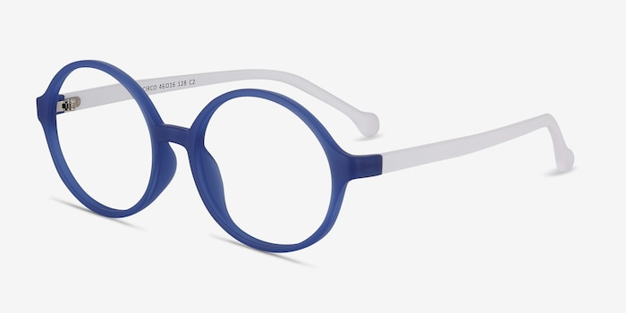 Circo Blue Plastic Eyeglass Frames from EyeBuyDirect, Angle View