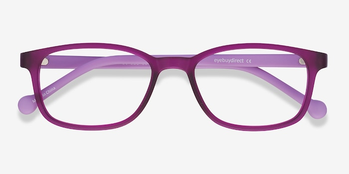Posie Purple Plastic Eyeglass Frames from EyeBuyDirect, Closed View