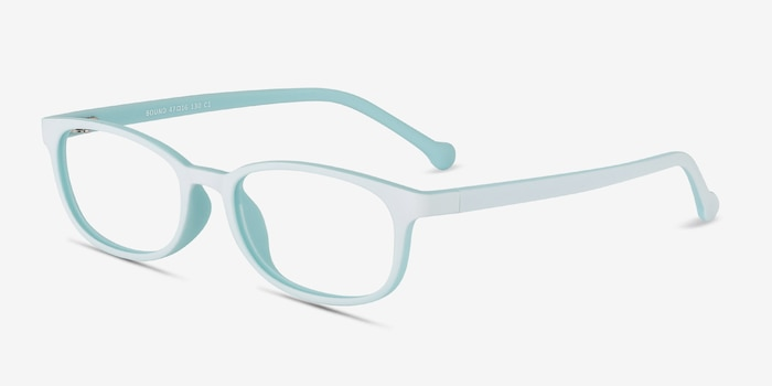 Bound Green Plastic Eyeglass Frames from EyeBuyDirect, Angle View
