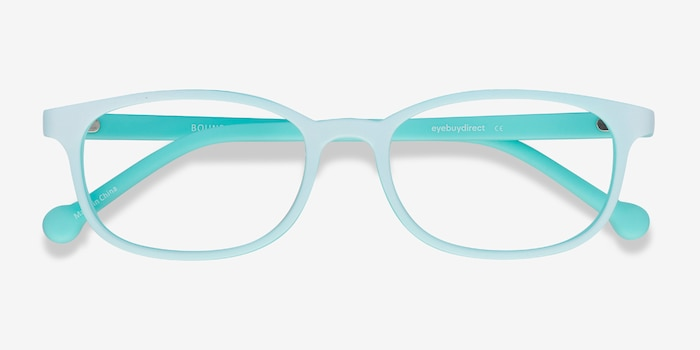 Bound Green Plastic Eyeglass Frames from EyeBuyDirect, Closed View