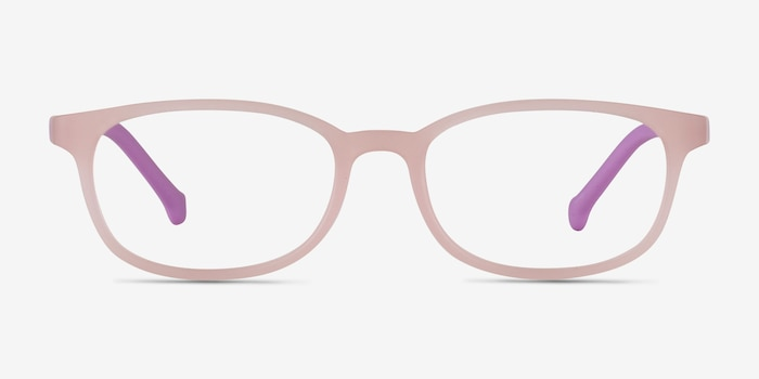 Bound Pink Plastic Eyeglass Frames from EyeBuyDirect, Front View
