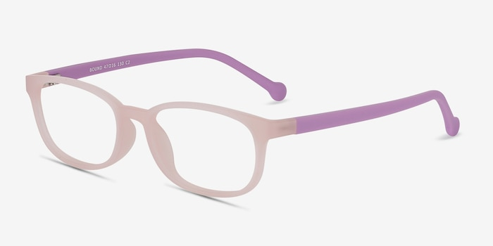Bound Pink Plastic Eyeglass Frames from EyeBuyDirect, Angle View