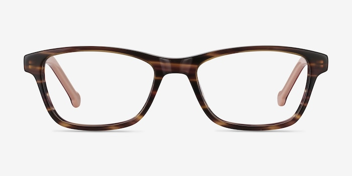 Shallows Brown Striped Acétate Montures de Lunettes d'EyeBuyDirect, Vue de Face