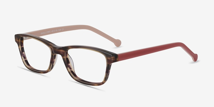 Shallows Brown Striped Acétate Montures de Lunettes d'EyeBuyDirect, Vue d'Angle