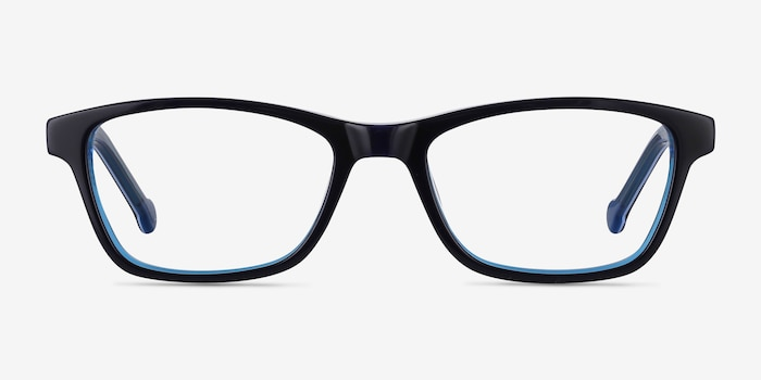 Shallows Blue Acetate Eyeglass Frames from EyeBuyDirect, Front View