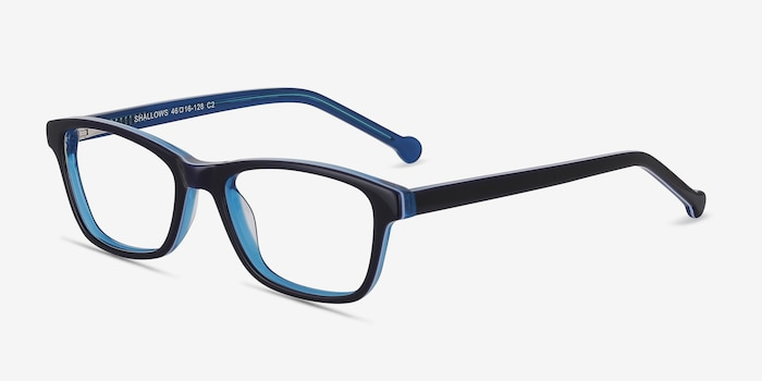 Shallows Blue Acetate Eyeglass Frames from EyeBuyDirect, Angle View