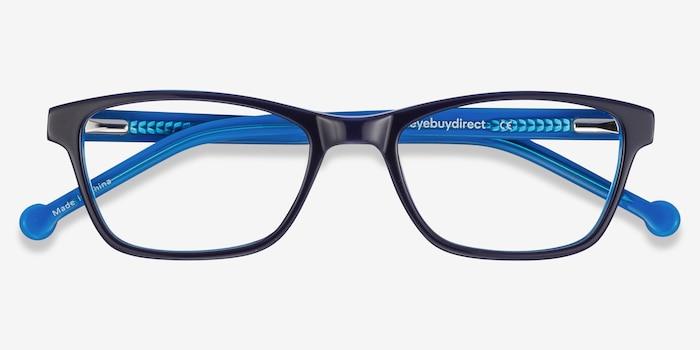 Shallows Bleu Acétate Montures de Lunette de vue d'EyeBuyDirect, Vue Rapprochée