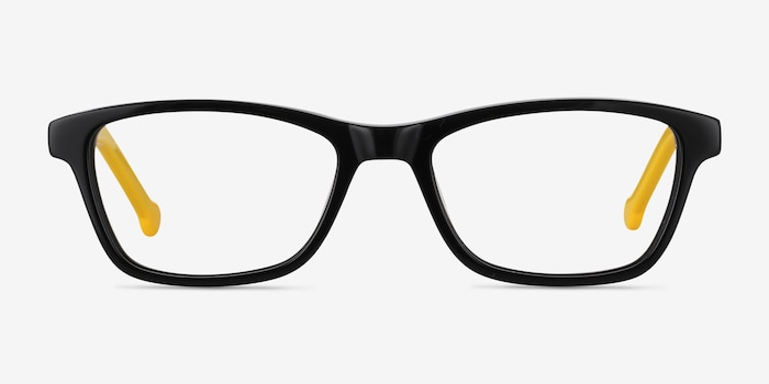 Shallows Black Acetate Eyeglass Frames from EyeBuyDirect, Front View