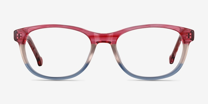Nifty Pink Striped Acetate Eyeglass Frames from EyeBuyDirect, Front View