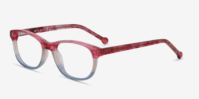 Nifty Pink Striped Acétate Montures de Lunettes d'EyeBuyDirect, Vue d'Angle
