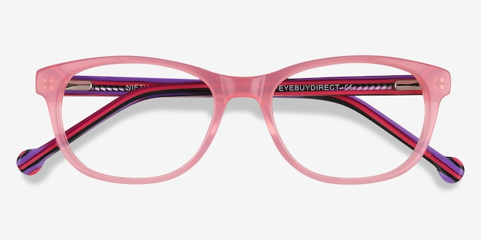Nifty Pink Acetate Eyeglass Frames from EyeBuyDirect, Closed View