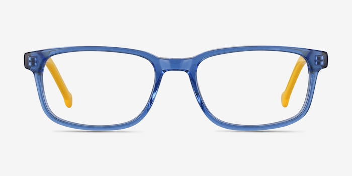Totes Blue Clear Acetate Eyeglass Frames from EyeBuyDirect, Front View