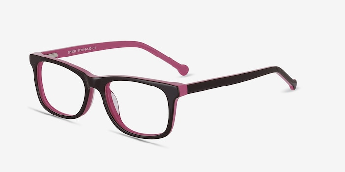 Typist Purple Acetate Eyeglass Frames from EyeBuyDirect, Angle View