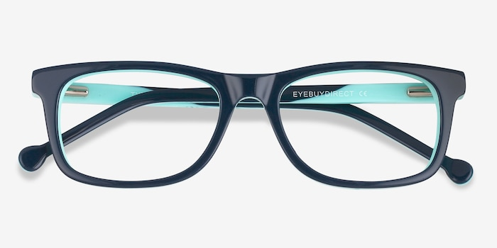 Typist Green Acetate Eyeglass Frames from EyeBuyDirect, Closed View