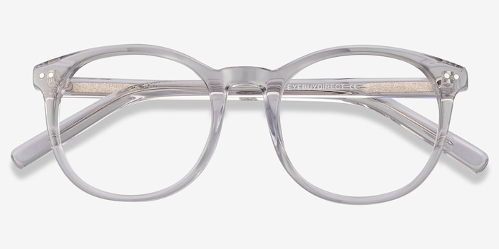 Primrose Gray Clear Acetate Eyeglass Frames from EyeBuyDirect, Closed View