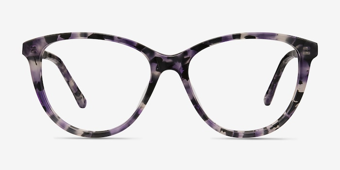 Lancet Purple Floral Acetate Eyeglass Frames from EyeBuyDirect, Front View