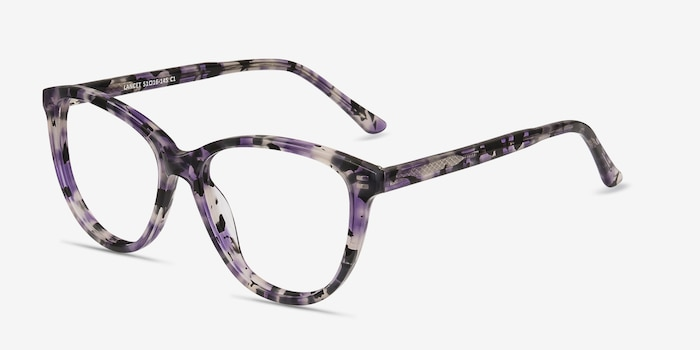 Lancet Purple Floral Acetate Eyeglass Frames from EyeBuyDirect, Angle View
