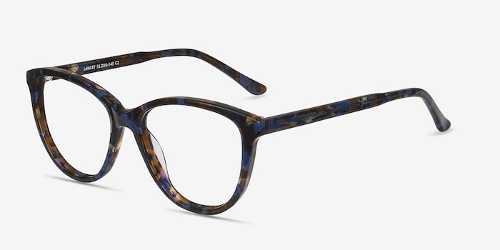 Lancet Blue Floral Acetate Eyeglass Frames from EyeBuyDirect, Angle View